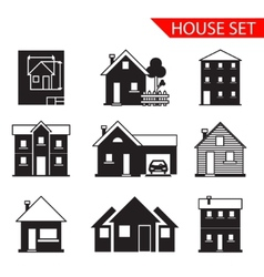 house silhouette icons set isolated vector image