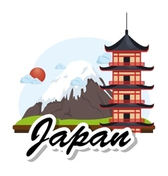 Japanese culture architecture icon vector