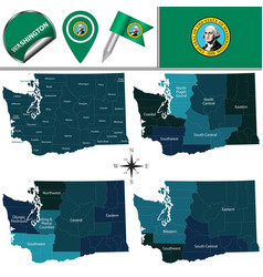 Map of washington with regions vector