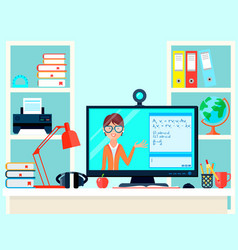 remote learning teacher composition vector image