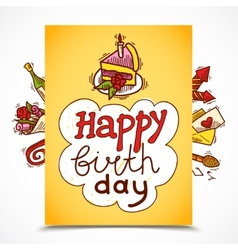 Birthday card sketch vector image vector image