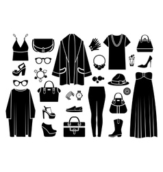 Fashion icons Clothing and accessories vector image vector image