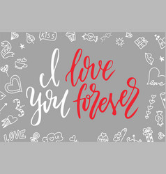 Hand drawn poster with love elements brush vector