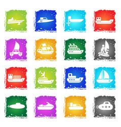 ships yachts and boats icons set vector image