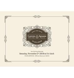 Vintage Wedding invitation card frame template vector image vector image