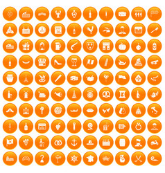 100 alcohol icons set orange vector image