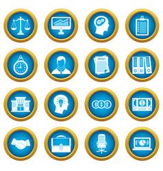 Banking icons blue circle set vector