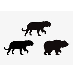 Big cats and bear sihouette icons image vector