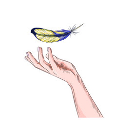bird feather is falling to palm girls hand vector image
