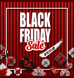 black friday sale banner with different gift vector image
