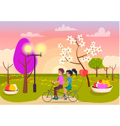 Boy and girl rides on double bicycle on park path vector