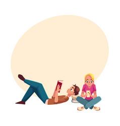 Boy man reading book lying woman girl using vector