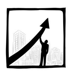 businessman raising arrow for success vector image