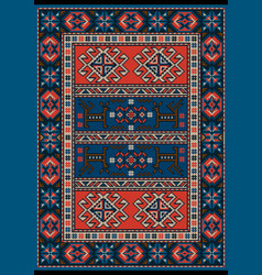 Carpet with stylized ornament in red and blue vector
