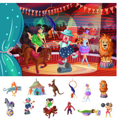 Cartoon colorful traveling circus composition vector