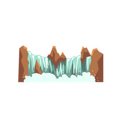 cartoon landscape with brown rocky mountain and vector image