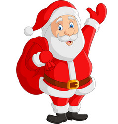 cartoon santa claus carrying sack vector image