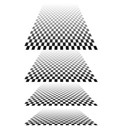 Chequered checker plane in 3d perspective vector