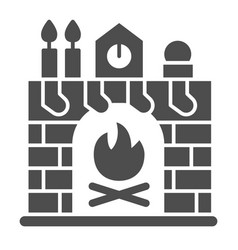 Christmas fireplace solid icon xmas interior vector