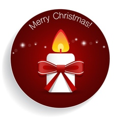 Christmas greeting card with candle and bow vector