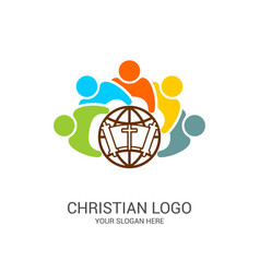 Church logo and biblical symbols vector