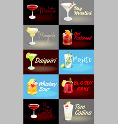 cocktail set posters vector image