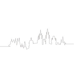 continous line skyline of prague vector image
