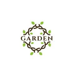 creative organic garden logo design vector image