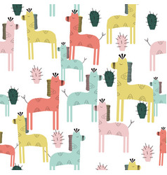 Cute giraffe and cactuses seamless pattern vector