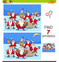 Differences game with santa claus christmas vector