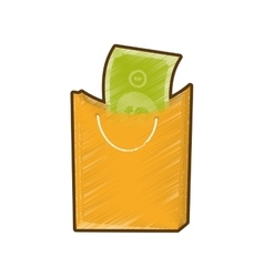 Drawing bag gift present bill money vector