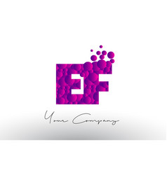 Ef e f dots letter logo with purple bubbles vector