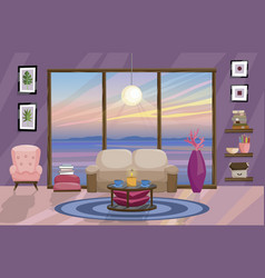 flat interior design landscape with beautiful vector image