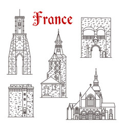 french travel landmark icon of dinan and calais vector image