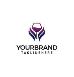 Glass wing wine logo design concept template vector