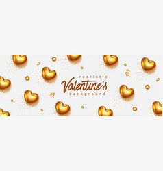 gold valentines day background 3d hearts vector image
