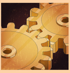 Golden gears retro poster vector