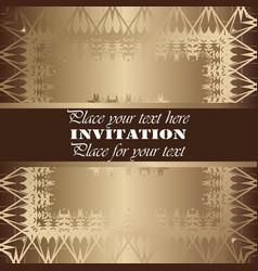 Golden invitation vintage floral pattern vector