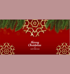 golden snowflakes shimmer red green fir branch vector image