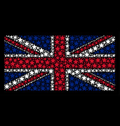 Great britain flag mosaic of fireworks star icons vector