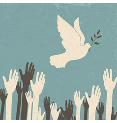 Group of hands and dove of peace vector
