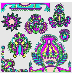 Hand draw flowers design elements vector