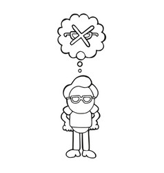 hand-drawn cartoon of man standing dreaming of vector image