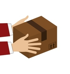 hands holding cardboard box icon vector image