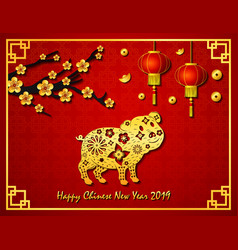 Happy chinese new year with golden pig in the fram vector