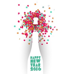 Happy new year 2016 confetti champagne party color vector