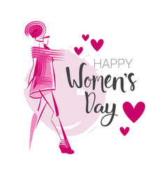 happy women day background 8 march card with hand vector image