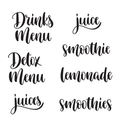 healthy drinks menu lettering set vector image