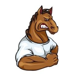 Horse mascot team label design vector image