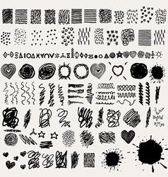 Ink design elements and splatters vector image